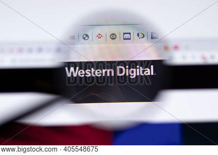 Saint Petersburg, Russia - 28 January 2021: Western Digital Website Page With Logo Close-up, Illustr