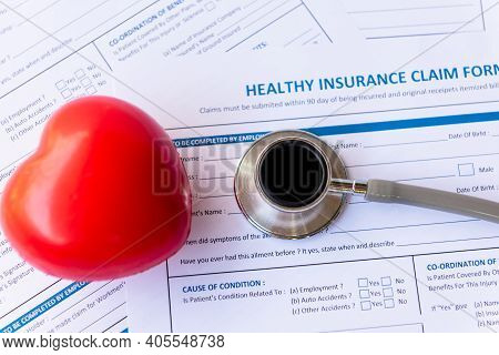 Health Insurance For Healthy Care Form And Protection People Life With Stethoscope.  health Insuran