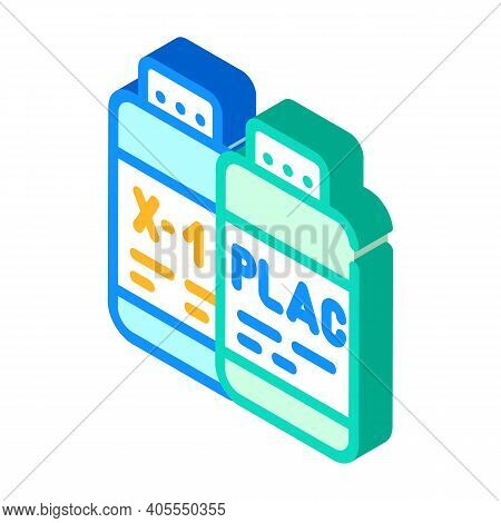 Test Samples Of Vaccine And Placebo Isometric Icon Vector Illustration