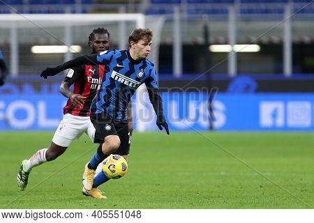 Milano, Italy. 26th January 2021 . Nicolo Barella Of Fc Internazionale  During The Coppa Italia Matc