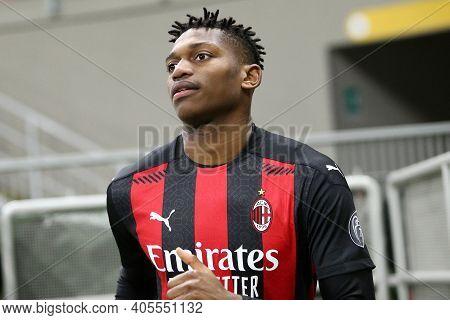 Milano, Italy. 26th January 2021 . Rafael Leao Of Ac Milan  During The Coppa Italia Match Between Fc