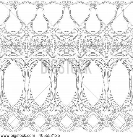Seamless Pattern, Border. Wood Carving Imitation In Art Nouveau Style, Vintage, Old, Retro Style. Ou