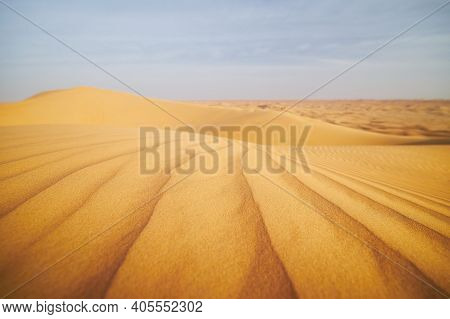 Selective Focus On Pattern Of Sand Dunes In Desert Landscape. Abu Dhabi, United Arab Emirates