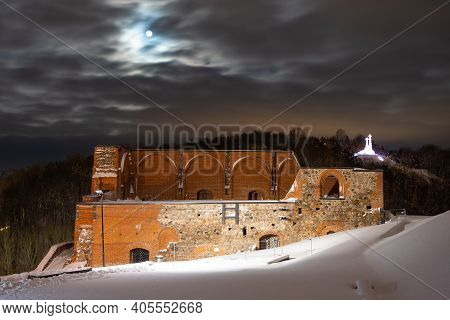 Part Of Gediminas Tower Or Castle, The Remaining Part Of The Upper Medieval Castle In Vilnius, Lithu