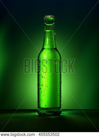 Single Green Beer Bottle Without Brand Designation. Full Glass Bottle Covered With Water Drops Again