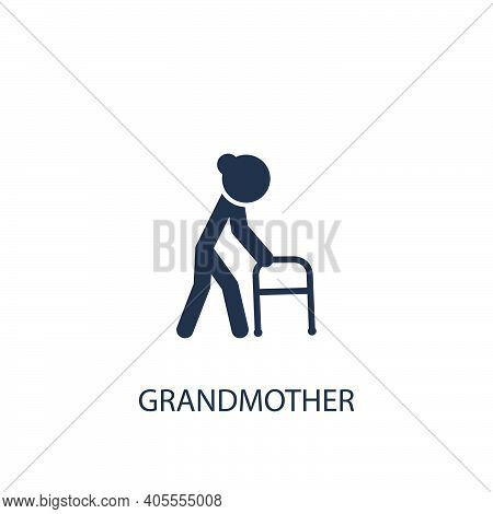Grandmother Icon. Simple Family Element Illustration. Vector Symbol Design From Home Collection.