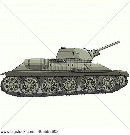 Famous Soviet Medium Tank T-34 Isolated On White Background.