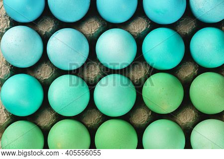 Traditional Christian Eastertime, Painted Eggs In Egg Box.