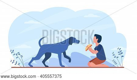 Hungry Dog Walking To Boy With Food. Hot Dog, Kid, Canine Flat Vector Illustration. Domestic Animals