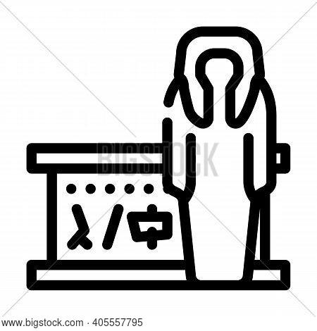 Mummy Museum Exhibit Line Icon Vector Illustration