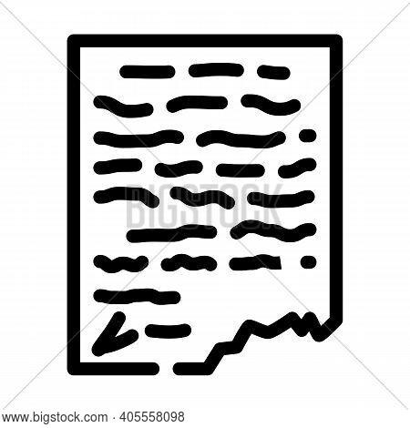 Letter, Manuscript Or Historical Document Museum Exhibit Line Icon Vector Illustration