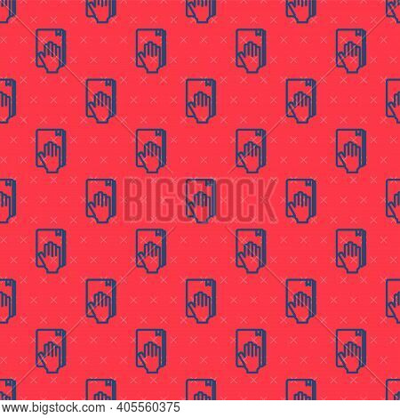 Blue Line Oath On The Holy Bible Icon Isolated Seamless Pattern On Red Background. The Procedure In