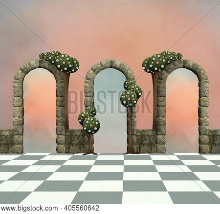 Wonderland Background With Arches And Trees - 3d Illustration