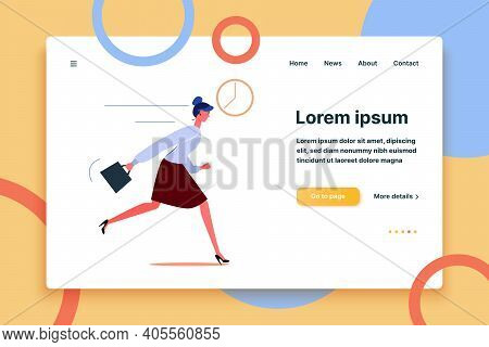Businesswoman Character Running. Young Office Worker Late For Work Flat Vector Illustration. Deadlin