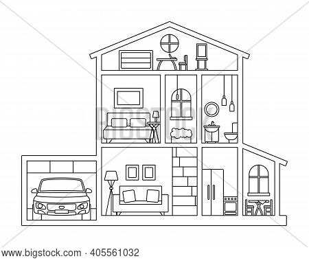 Illustration For Coloring Book - Cross Section Of Cottage House With Furniture, Attic And Car In Gar