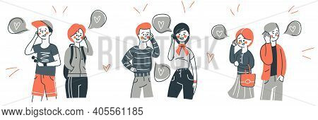 People Talking Phone Set Isolated On White Background. Love Couple Talking Concept. Communication An