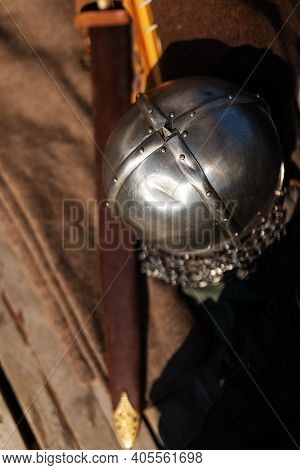 Medieval Weapons And Viking Armor, The Equipment Of Actors At The Festival Of Historical Reconstruct