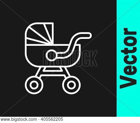 White Line Baby Stroller Icon Isolated On Black Background. Baby Carriage, Buggy, Pram, Stroller, Wh