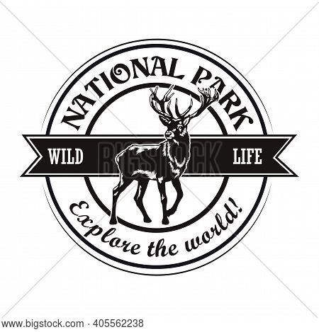 Wild Animals Reserve Symbol Design. Monochrome Element With Moose Deer Vector Illustration With Text