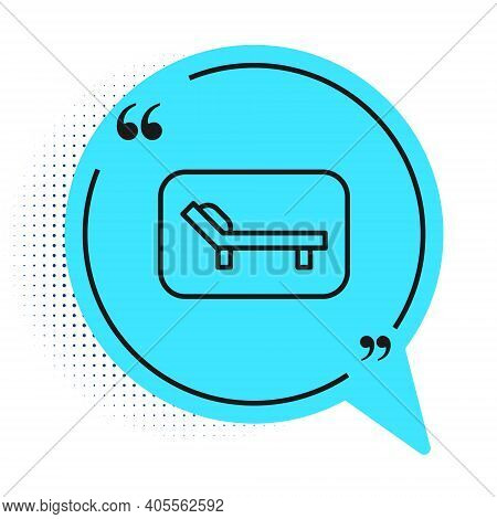 Black Line Sunbed Icon Isolated On White Background. Sun Lounger. Blue Speech Bubble Symbol. Vector