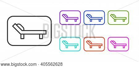 Black Line Sunbed Icon Isolated On White Background. Sun Lounger. Set Icons Colorful. Vector