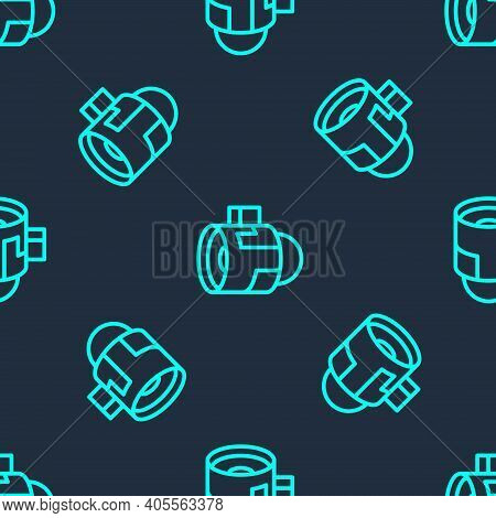 Green Line Jet Engine Turbine Icon Isolated Seamless Pattern On Blue Background. Plane Turbine. Airp