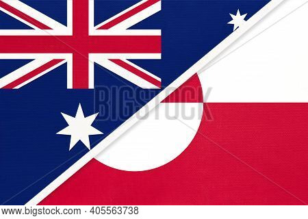 Australia And Greenland, National Flags From Textile. Relationship, Partnership And Match Between Tw