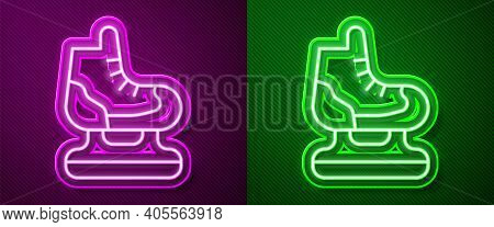 Glowing Neon Line Skates Icon Isolated On Purple And Green Background. Ice Skate Shoes Icon. Sport B