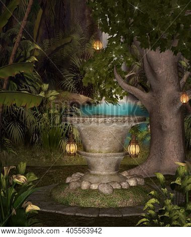 Enchanted Pedestal By A Waterfall In The Middle Of The Forest - 3d Illustration