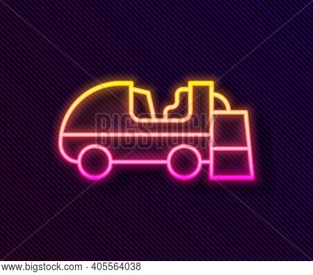 Glowing Neon Line Ice Resurfacer Icon Isolated On Black Background. Ice Resurfacing Machine On Rink.