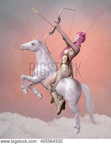 Knight With A Bow Riding A White Unicorn On A Pink Background - 3d Illustration