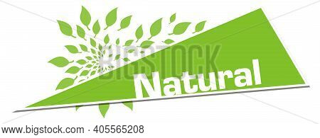 Natural Text Written Over Green Background With Leaves.