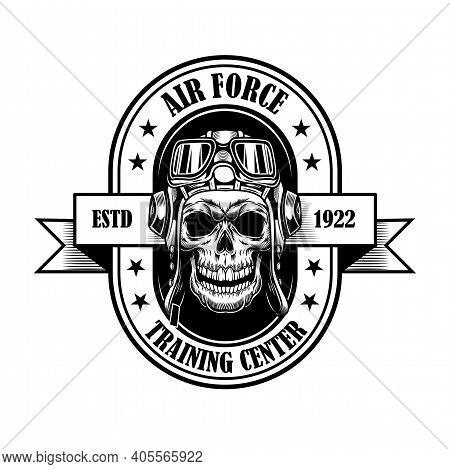 Air Force Academy Badge Design. Monochrome Element With Skull In Pilot Helmet Vector Illustration Wi