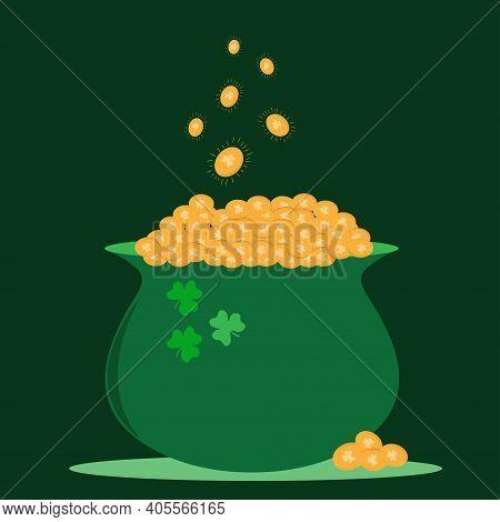 St. Patrick S Day Symbol Green Pot. Vector Illustration Of St. Patrick's Day Big Pot Of Gold. Gold C