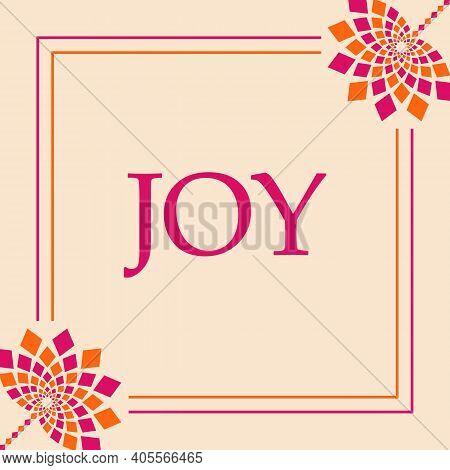 Joy Text Written Over Pink Orange Background.