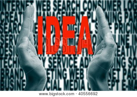 man hands forming brackets and the word idea written in red inside, on a background full of words about internet concept