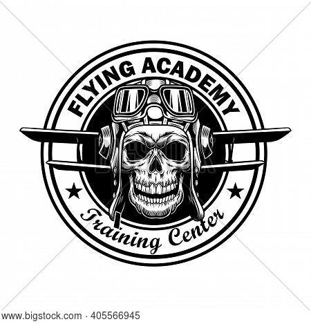Flying Academy Stamp Design. Monochrome Element With Skull In Pilot Helmet, Plane Wings Vector Illus