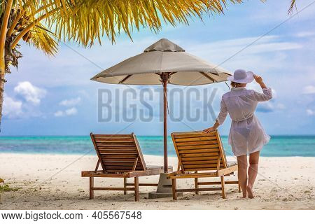 Woman In Beach Dress Looking At The View Over Seascape. Chaise Lounge Template, Summer Travel Vacati