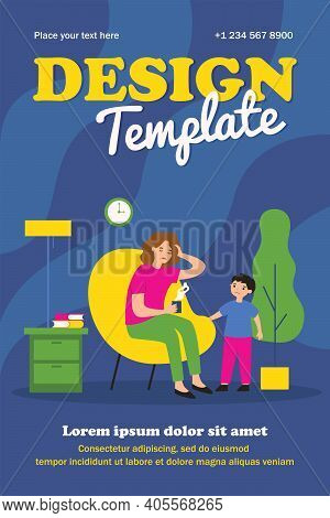 Sick Mom Suffering From Headache. Worried Kid, Ill Mother With Hot Drink Flat Vector Illustration. F