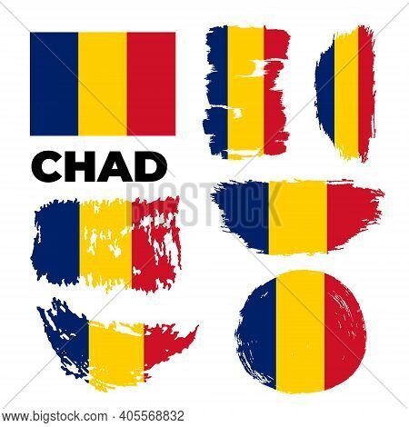 Chad Flag Set In Grunge Style. Patriotic Background