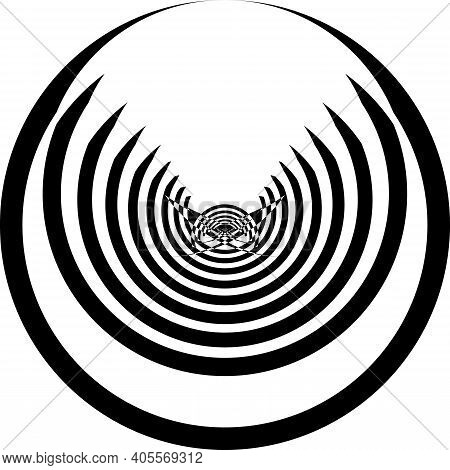 Spider Butterfly Circles Abstract Black On Transparent Background Designer Cut