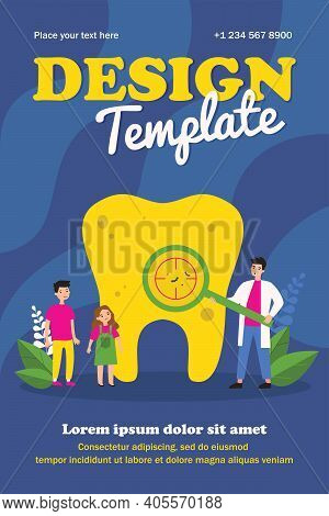 Dentist Showing Caries On Tooth To Children. Magnifier, Diagnostics, Doctor Flat Vector Illustration