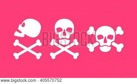 Human Skull In Side And Full Face View And Crossbones On Red Background. Isolated Illustration In Fl