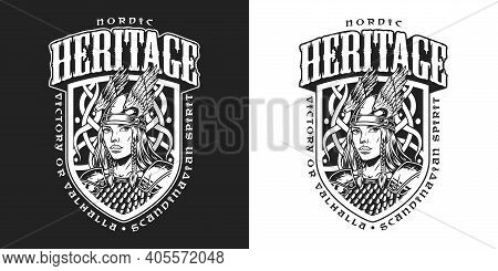 Medieval Nordic Viking Vintage Design With Inscriptions And Pretty Valkyrie In Winged Helmet Isolate