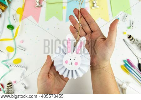 Diy And Kids Creativity. Step By Step Instructions: How To Make An Easter Paper Bunny. Step 7. Handm