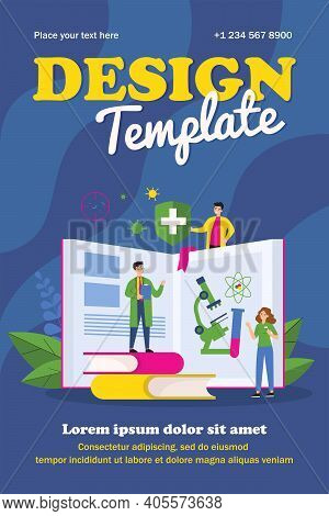 Tiny People Learning Medicine Course. Book, Doctor, Study Flat Vector Illustration. Education And Vi