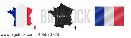 France. Map With Masked Flag. Detailed Silhouette. Waving Flag. Vector Illustration Isolated On Whit