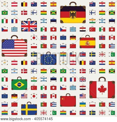 Vector Seamless Pattern With Travel Suitcases In The Colors Of The National Flags Of Various Countri