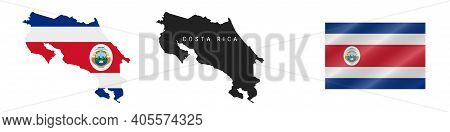Costa Rica. Map With Masked Flag. Detailed Silhouette. Waving Flag. Vector Illustration Isolated On
