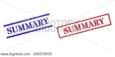 Grunge Summary Stamp Seals In Red And Blue Colors. Seals Have Rubber Texture. Vector Rubber Imitatio
